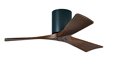Matthews IR3H-BK-WA-42 Irene 42' Outdoor Flush Mount Ceiling Fan with Remote and Wall Control, 3 Wood Blades, Matte Black