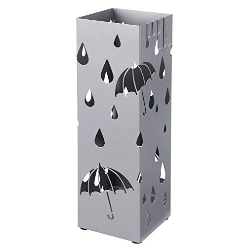 SONGMICS Metal Umbrella Stand, Square Umbrella Holder with a Removable Water Tray and 4 Hooks, 6.1 x 6.1 x 19.3 Inches, Silver Gray ULUC049S01
