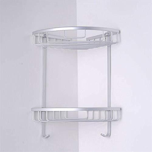 QFWM Estante de ducha de aluminio de 1/2/3 capas, montado en la pared, para esquina de baño, estantes de baño, estantes de baño (tamaño: 2 capas; color: plata)