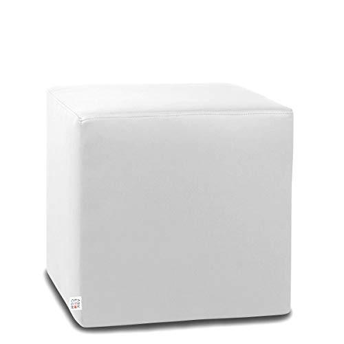 Arketicom Dado Pouf Poggiapiedi CUBO Ecopelle Sfoderabile Puff Bianco 42 cm