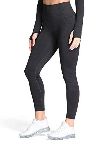 Aoxjox Women s High Waist Workout Gym Vital Seamless Leggings Yoga Pants Black Marl Small product image