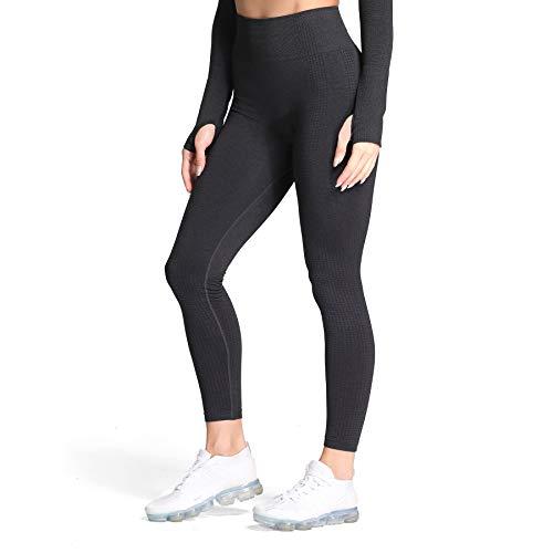 Aoxjox Women's High Waist Workout Gym Vital Seamless Leggings Yoga Pants (Black Marl, Large)