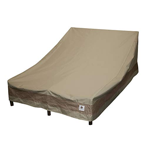 Duck Covers Elegant Waterproof 82 Inch Double Wide Patio Chaise Lounge Cover