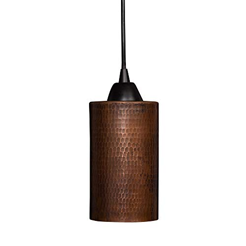"""Premier Copper Products Hand Hammered Copper 4"""" Round Cylinder Pendant Light"""