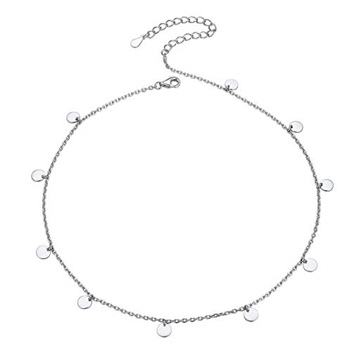 925 Sterling Silver Charm Disc Choker Collar Fashion Women Necklace 33cm+5cm Extended Chain Gift for Girlfriend