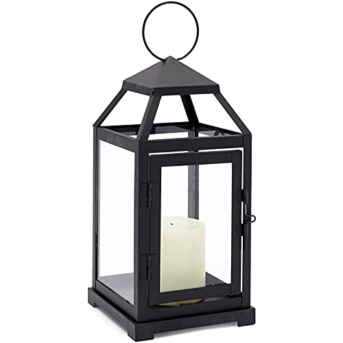 Juvale Black Candle Lantern, Decorative Metal Holder with Tempered Glass (5.3 x 11 in)