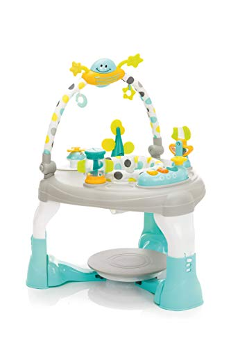 Fillikid Spiel-Center 2in1 Exclusiv I Baby Spieltisch, Baby-Hopser - ab 6 Monate I Lauflernhilfe 3 fach höhenverstellbar, große Spielstation I Lauflerner dreht sich 360° Grad I Activity-Center