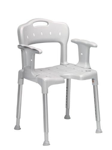 Patterson Medical Swift douche-stoel met rugleuning en armleuningen, grijs