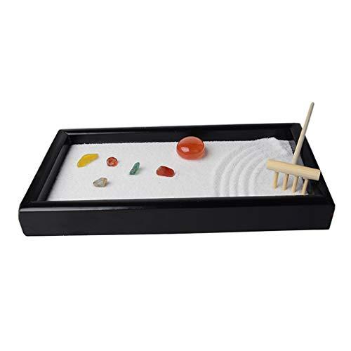 perfk Achate Black Zen Garden Sandkasten Sandkasten Tablett Meditation Yoga Büro Dekor