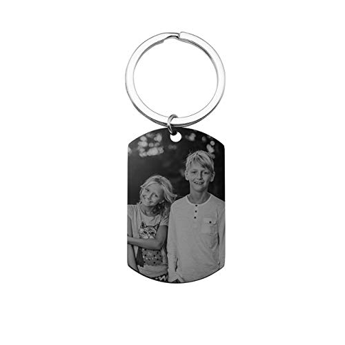 JOVIVI Gratis Fotogravur Edelstahl Dogtag Schlüsselanhänger mit Kalender Gravur Memorial Schlüsselring Ideal Geschenk