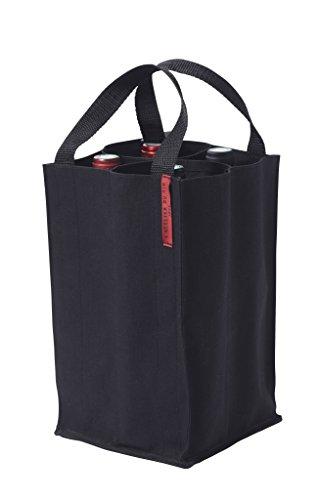 L'ATELIER DU VIN – Soft Baladeur Noir – Toile Épaisse Coton – 4 Compartiments – Emmenez vos Bouteilles avec Vous