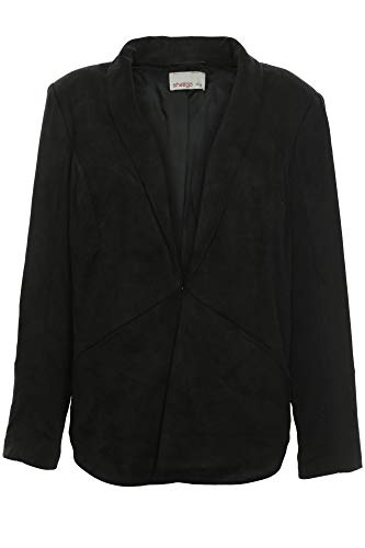 Sheego Samt Blazer Jacke Jacket Gehrock Damen Plusgröße Oversize, Farbe:schwarz, Damengrößen:50