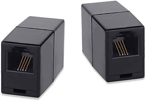 Acoplador de Teléfono,SHONCO Acopladores de Línea Telefónica,RJ11 6P4C,Adaptador de Acoplador de Teléfono Interno,Adaptador de Línea Telefónica(paquete de 2 negro)
