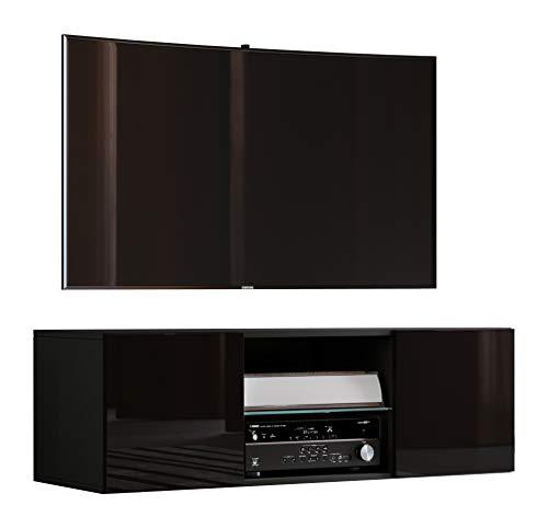 """VCM TV Schrank Lowboard Tisch Board Fernseh Sideboard Wandschrank Wohnwand Holz Schwarz 40x115x36 cm \""""Jusa Hochglanz\"""""""