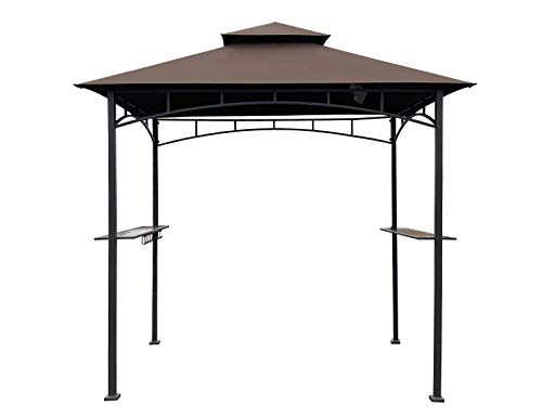 APEX GARDEN Replacement Canopy Top CAN ONLY FIT for Model #L-GZ238PST-11 8' X 5' Bamboo Look BBQ Grill Gazebo (Canopy Top Only) (Brown)