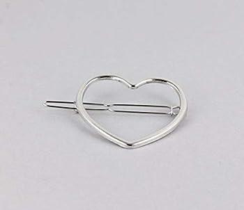 Silver Heart Barrette Outline Shape Metal Hair Clip Barrette Shiny Clip Colored Hair Clips For Women Girls