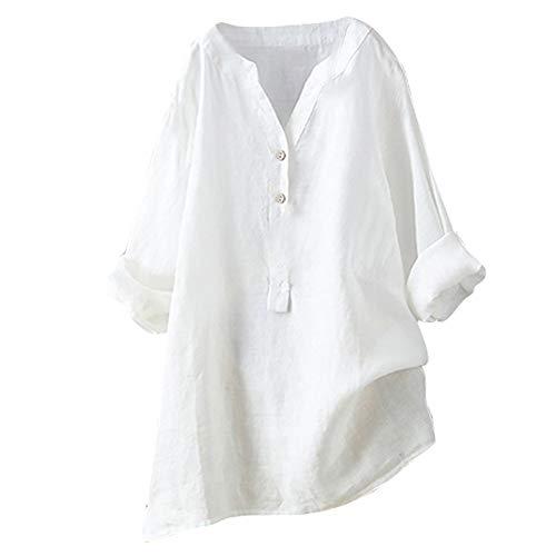 Yvelands Camisa Casual Femenina, Tops para Mujer Sólida Camiseta de Manga Larga Loose Button Down Blusa Liquidación! (Blanco, XL)
