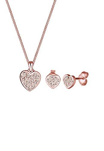 Elli dames sieradenset ketting + oorbellen hart liefde 925 zilver Swarovski kristal goud briljant geslepen - 0911391115_45-45 cm lengte