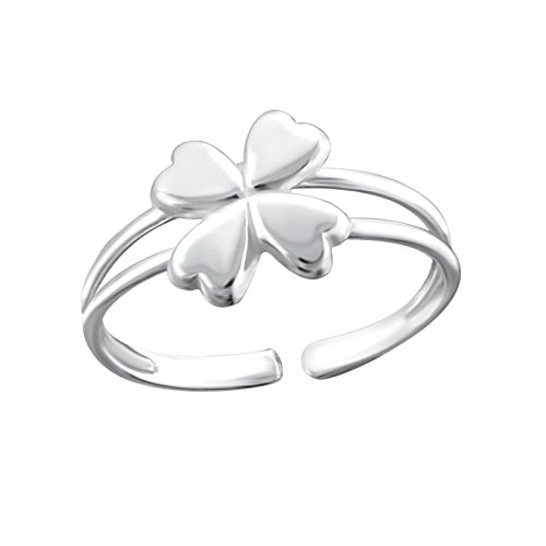 ICYROSE 925 Sterling Silver Four Leaf Clover Shamrock Above Knuckle Ring Mid Finger Top Stacking or can use for Toe Ring Summer Women's Adjustable 18502