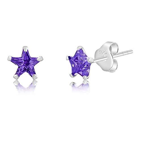 DTP Silver - Orecchini a perno a forma di Stella - Argento 925 con Cristalli Swarovski - Colore: Rosa Chiaro