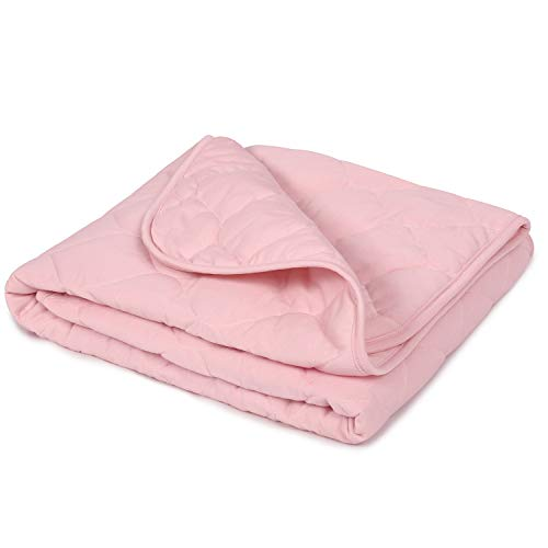 """TILLYOU Down Alternative Toddler Comforter Blanket for Baby Boys Girls, Summer-Weight Breathable Cooling Crib Quilt for Sleeping, Soft Light Nursery Bed Cover, 39""""x47"""",Pink"""