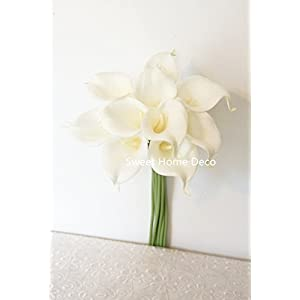 Sweet Home Deco Latex Real Touch 15″ Artificial Calla Lily 10 Stems Flower Bouquet for Home/Wedding (White)