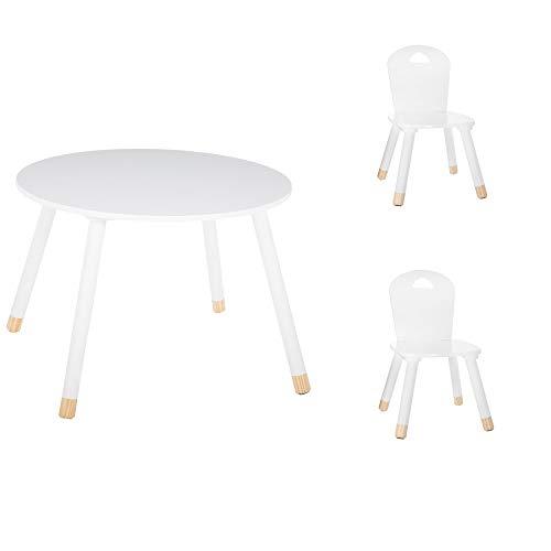 Set tavolo morbido bianco + 2 sedie morbide bianche Atmosphera