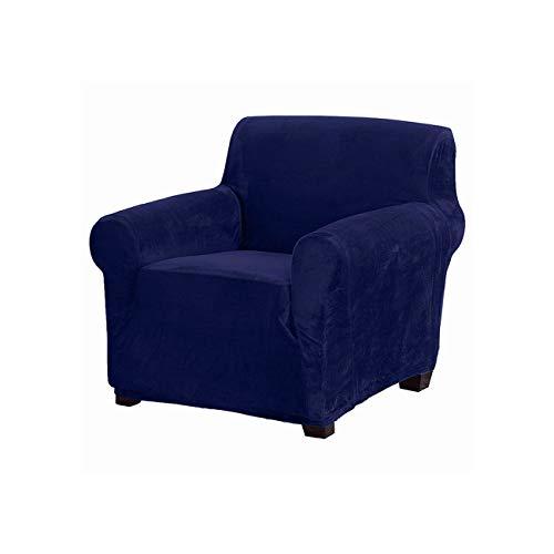 Lionel Philip Super Soft Velvet Elastic-Abdeckung für Sessel Stretch-Sofa-Abdeckung Wohnzimmer Couch Slipcover Für Sessel Elastic Sofabezüge, Marineblau, 2 Seater 145-185Cm