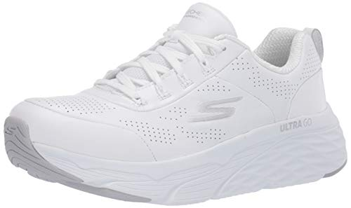 Skechers Damen Max Cushioning Elite-Step Up Sneaker, Weiß (White Leather/Silver Trim WSL), 38 EU