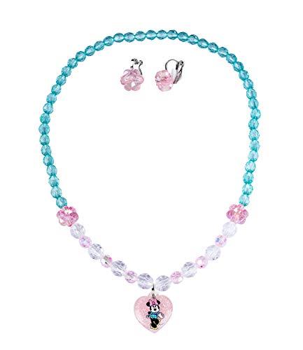 SIX Disney Kids 2er Schmuckset, Ohrklipser aus funkelnden rosa Blüten, Halskette mit Minnie-Mouse Herzanhänger, Disney (297-758)