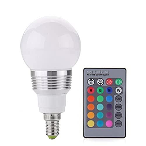 Tuimiyisou 3w RGB Llevó Bulbos Bombilla Incandescente Remoto IR Incluido Cambios De 16 Colores, Bombilla Led De Luz De La Lámpara
