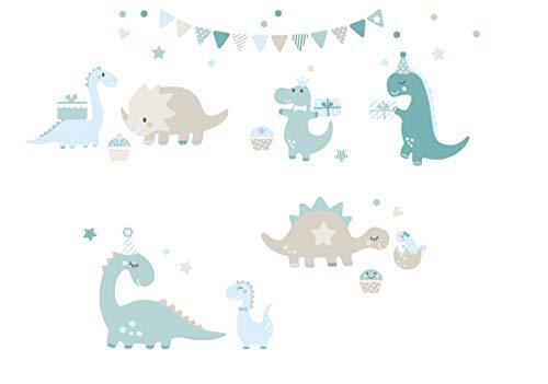 lovely label Pegatinas Infantiles de Pared de Dinosaurios - Adhesivo Infantil Libre de PVC para Habitaciones de Niños y Niñas - Adhesivos Infantiles de 40 unidades/Azul/Petróleo/Gris & Beige