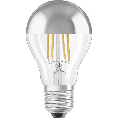 Osram LED Star Classic A Mirror Kopfspiegellampe, in Kolbenform mit E27-Sockel, nicht dimmbar, Ersetzt 51 Watt, Filamentstil, Warmweiß - 2700 Kelvin, 1er-Pack