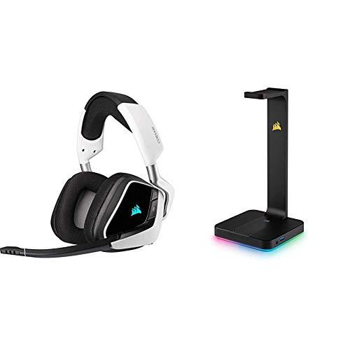 Corsair Void Elite RGB Wireless Gaming Headset (7.1 Surround Sound, 12 Meter Reichweite) Weiss & ST100 Premium Kopfhörer-Ständer (2X USB 3.1, Aluminium, 7.1 Dolby Audio Ausgang) schwarz
