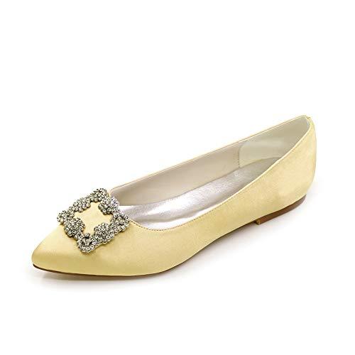 QXue Zapatos de boda para mujer, bailarina, satén, puntiaguda, planos, diamantes de...