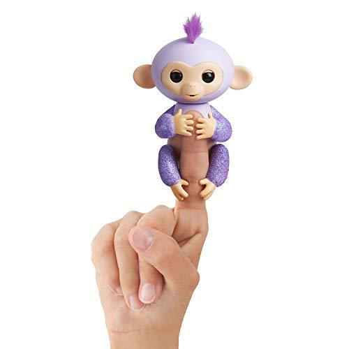 Fingerlings Glitzer Äffchen lila Kiki 3762 interaktives Spielzeug, reagiert auf Geräusche, Bewegungen und Berührungen, Violett
