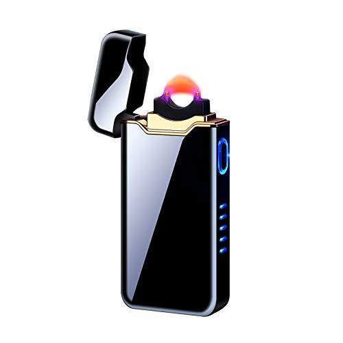 DOUBFIVSY Lichtbogen Feuerzeug, Elektro Feuerzeug USB, Plasma Feuerzeug, Winddicht Elektronische Flammenfeuerzeug mit Batterieanzeige, Arc Lighter für Männer Damen Geschenk Küche Feuerwerk (Schwarz)