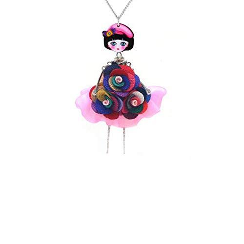 N-K Art- und Weisebunte Spitze- Blumen- Puppe hängende Kettenhalsketten- Schmucksache- Geschenk neu freigegeben Fashion