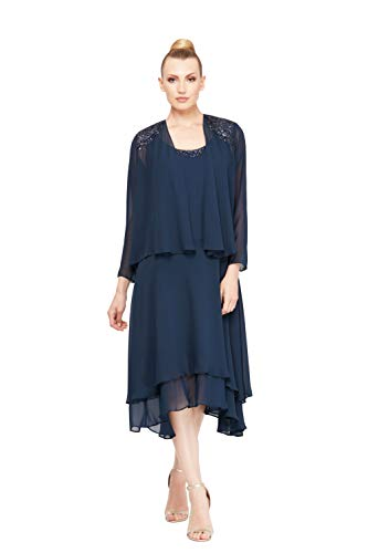 S.L. Fashions Women's Embellished Chiffon Tiered Jacket Dress, Navy, 14 (Apparel)