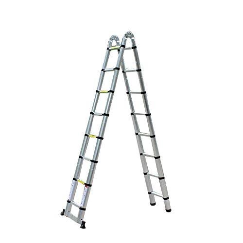 Aohuada Escalera telescópica de aluminio industrial, extensible, plegable, multiusos, 5 m, 150...