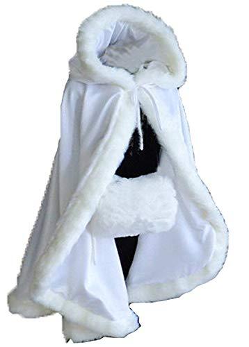 CoCogirls Frau Winter Pelz Trimmen Satin Umhang Schal Abdeckung Hochzeitsmantel Renaissance Braut Mantel Bolero Jacke (Ivory)