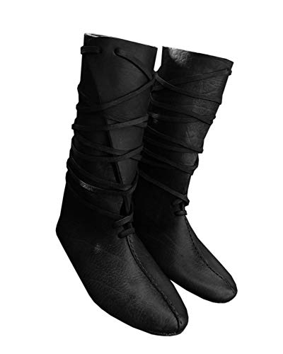 Mens Renaissance Medieval Cosplay Halloween Boots Faux Leather Knee High Lace Up Vintage Stage Pirate Viking Tied Shoes Brown