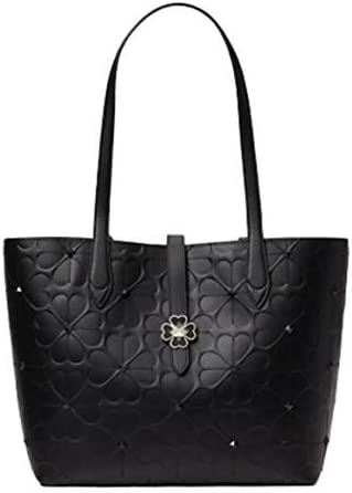 Kate Spade New York KACI SPADE Flower EMBOSSED Small Tote Women's Handbag, Black, 9