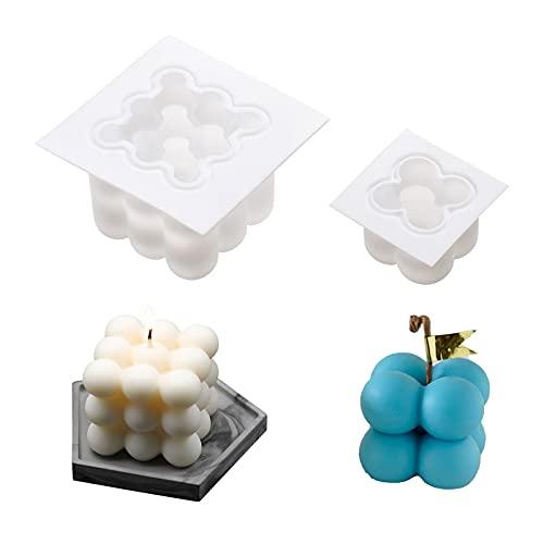 2 Pezzi Stampo per Candele Silicone DIY Cioccolato Sapone Resin Moulds Aromaterapia Stampo 3DBubble Cube Candle Molds Forma di Candela per Versare per Fabbricazione per Fondente/Candele/Torta