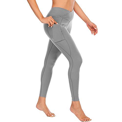 Leggings de Color Sólido con Bolsillos Laterales Leggins Levante los Cadera de Cintura Alta Pantalones Deportivos Mujer Mallas Transpirables Elásticos Pantalón Fitness Ideal para Yoga y Pilates