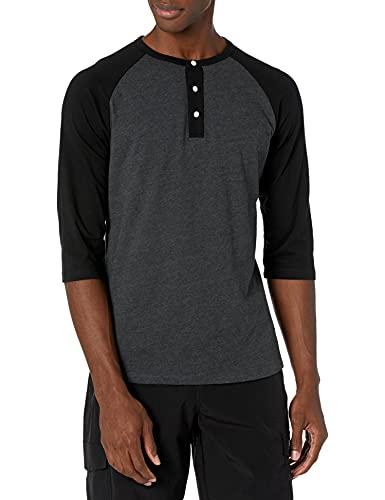 H2H Mens Casual Slim Fit Raglan 3/4 Sleeve Henley T-Shirts CHARCOALBLACK US XL/Asia 2XL (CMTTS0174)