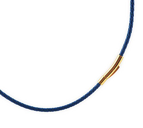 aBALENT(アバレント)青 本革 レザーチョーカー メンズ 革紐 革 ブラック 留め具 ゴールド 金 幅3mm 45cm 50cm ネックレス 革ひも 首輪 ネックレス スポーツ 簡単装着 アレルギー対応 レザー (50)