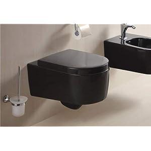 Lux-aqua – Inodoro de pared de plástico termoestable con cierre suave, color negro, STR2044-18