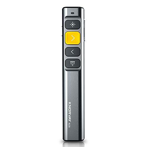 KNORVAY N28 Laserpointer Präsentation mit 4 Hotkeys, einfach zu bedienen, 2,4 GHz Wireless Presenter Remote 330 FT Control Range, Unterstützung Hyperlink Key-Customized Funktion