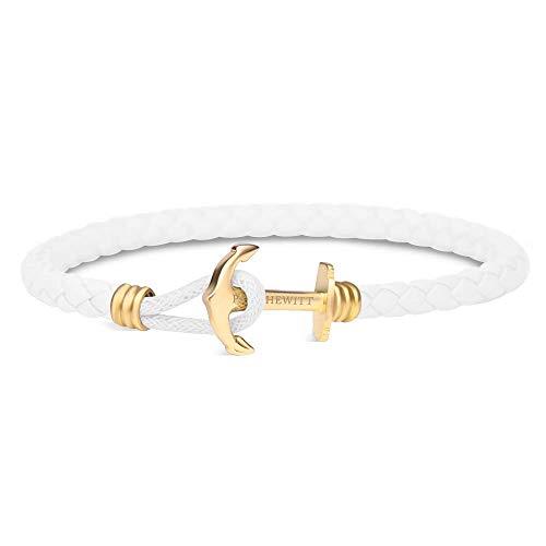 PAUL HEWITT Anker Armband Damen PHREP Lite - Leder Armband (Weiß), Armband Frauen mit Anker Schmuck Edelstahl (Gold)